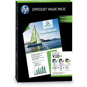 Hewlett Packard No. 920XL Officejet Value Pack Colour Inkjet Cartridge and A4 Matt Paper