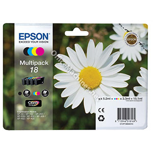 Epson 18 Inkjet Cartidges Capacity 15.1ml Total Black, Cyan, Magenta and Yellow