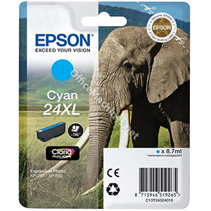 Epson 24XL Inkjet Cartridge Capacity 8.7ml Page Life 740pp Cyan