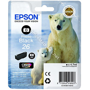 Epson T2611 26 Inkjet Cartridge Polar Bear Capacity 4.7ml Photo Black