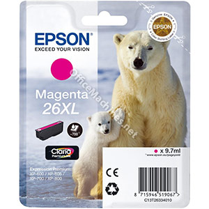 Epson 26XL Inkjet Cartridge Polar Bear Capacity 9.7ml Magenta