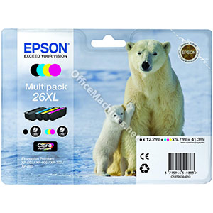 Epson 26XL Inkjet Cartridge Capacity 41.3ml Black, Cyan, Magenta and Yellow