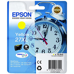 Epson 27XL Inkjet Cartridge Alarm Clock Capacity 10.4ml Yellow