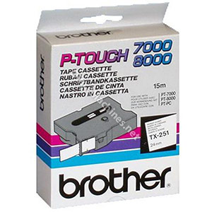 Brother TX251 Black on White 24mm gloss tape