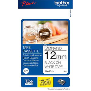Brother P-Touch TZe-231S 12mmx4m Black On White Labelling Tape