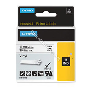 Dymo 18445 19mm White Vinyl Tape