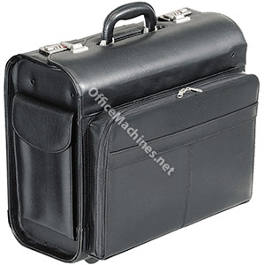 Alassio San Remo Trolley Pilot Case Multi-section 2 Combination Locks Leather-look Black