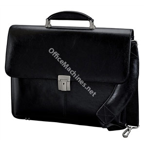 Alassio Briefcase Multi-section with Shoulder Strap Leather Black