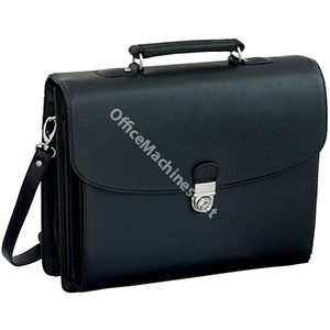 Alassio Forte Briefcase with Shoulder Strap 5 Document Sections Leather-look Black