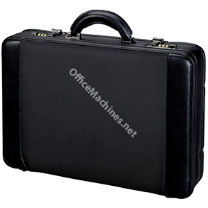 Alassio Attache Case and Removable Laptop Sleeve Imitation Leather Expandable Black
