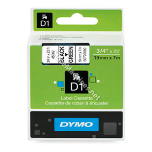Dymo 45809 19mm Black on Green Tape