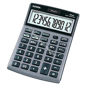 Aurora Calculator Desktop Multifunction 12 Digit 3 Key Memory Tilted 101x150x23mm