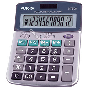 Aurora Calculator Desktop Battery/Solar-power 12 Digit 3 Key Memory 103x138x28mm