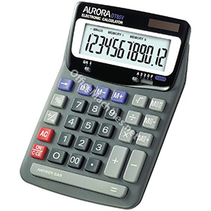 Aurora Calculator Desktop Battery/Solar-power 12 Digit 2x3 Key Memory 140x198x46mm
