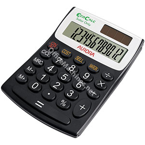 Aurora EcoCalc Calculator Desktop Recycled Solar Powered 12 Digit 3 Key Memory