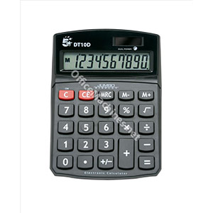 5 Star Calculator Desktop Battery/Solar-power 10 Digit 3 Key Memory