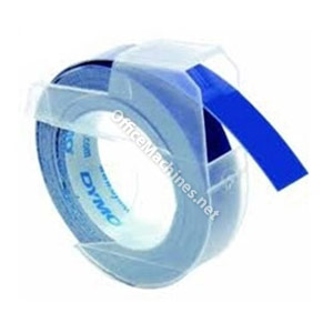 Dymo S0898140 White on Blue 9mm Embossing Tape