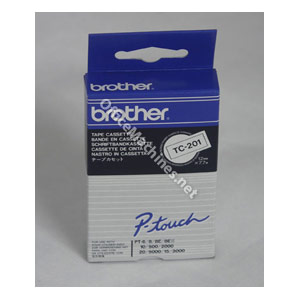 Brother TC201 Black on White 12mm gloss tape