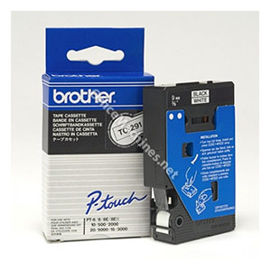 Brother TC291 Black on White 9mm gloss tape