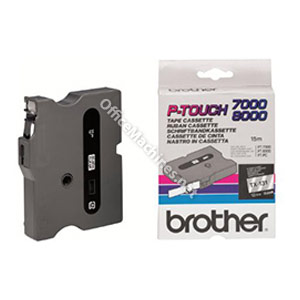 Brother TX131 Black on Clear 12mm gloss tape