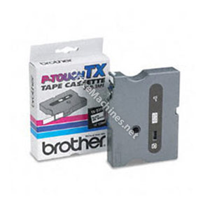 Brother TX355 White on Black 24mm gloss tape