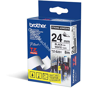 Brother TZES251 Black on White 24mm strong adhesive tape