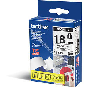 Brother TZESE4  18mm black on white tamper proof Security Tape