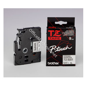 Brother TZES221 Black on White 9mm strong adhesive tape
