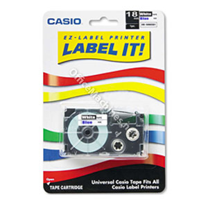 Casio XR-18WEB1 Blue on White 18mm tape