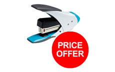 Rexel Easy Touch Stapler Flat Clinch Quarter Strip White and Blue