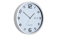 Wall Clock White With Date Grey Edge