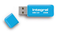 Integral Neon Flash Drive USB 3.0 Blue 32GB