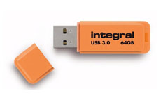 Integral Neon Flash Drive USB 3.0 Orange 64GB