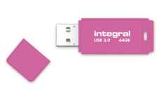 Integral Neon Flash Drive USB 3.0 Pink 64GB