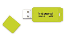 Integral Neon Flash Drive USB 3.0 Yellow 64GB