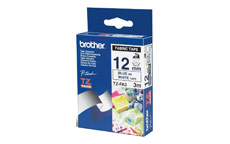 Brother TZEFA3 Blue on White 12mm fabric tape