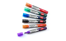 Nobo 1901077 Liquid Ink Drywipe Markers Pack of 6 Assorted Pens Bullet Tip