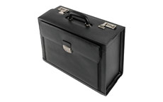 Alassio Ferrara Pilot Case Leather Laptop Compartment 2 Combination Locks Black