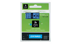 Dymo D1 Tape for Electronic Labelmakers 12mmx7m Black on Blue
