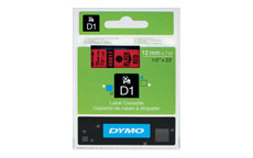 Dymo D1 Tape for Electronic Labelmakers 12mmx7m Black on Red