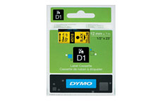 Dymo D1 Tape for Electronic Labelmakers 12mmx7m Black on Yellow