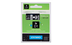 Dymo 45811 19mm White on Black Tape