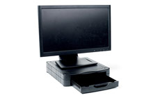 Monitor Screen Riser 67mm Stackable 1 Drawer 15kg Load Black