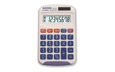 Aurora Calculator Handheld Battery/Solar-power 8 Digit 3 Key Memory 50g