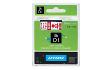 Dymo D1 Tape for Electronic Labelmakers 9mmx7m Red on White