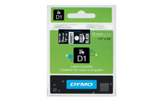 Dymo D1 Tape for Electronic Labelmakers 12mmx7m White on Black