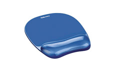 Fellowes Crystal Mouse Mat Pad with Wrist Rest Gel Blue