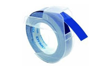Dymo S0847740 White on Blue 9mm Embossing Tape - Pack of 3