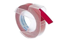 Dymo S0898150 White on Red 9mm Embossing Tape