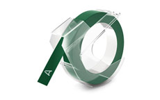 Dymo S0898160 White on Green 9mm Embossing Tape